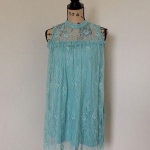 Blue Mint Green Lace Tank Top/Mini Dress Size S